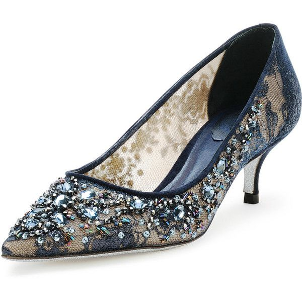 Rene Caovilla Beaded Lace Low Heel Pump 1 195 Liked On Polyvore Featuring Shoes Pumps Navy Blue Pointed Toe Pumps Navy Kit My Polyvore Finds Low H