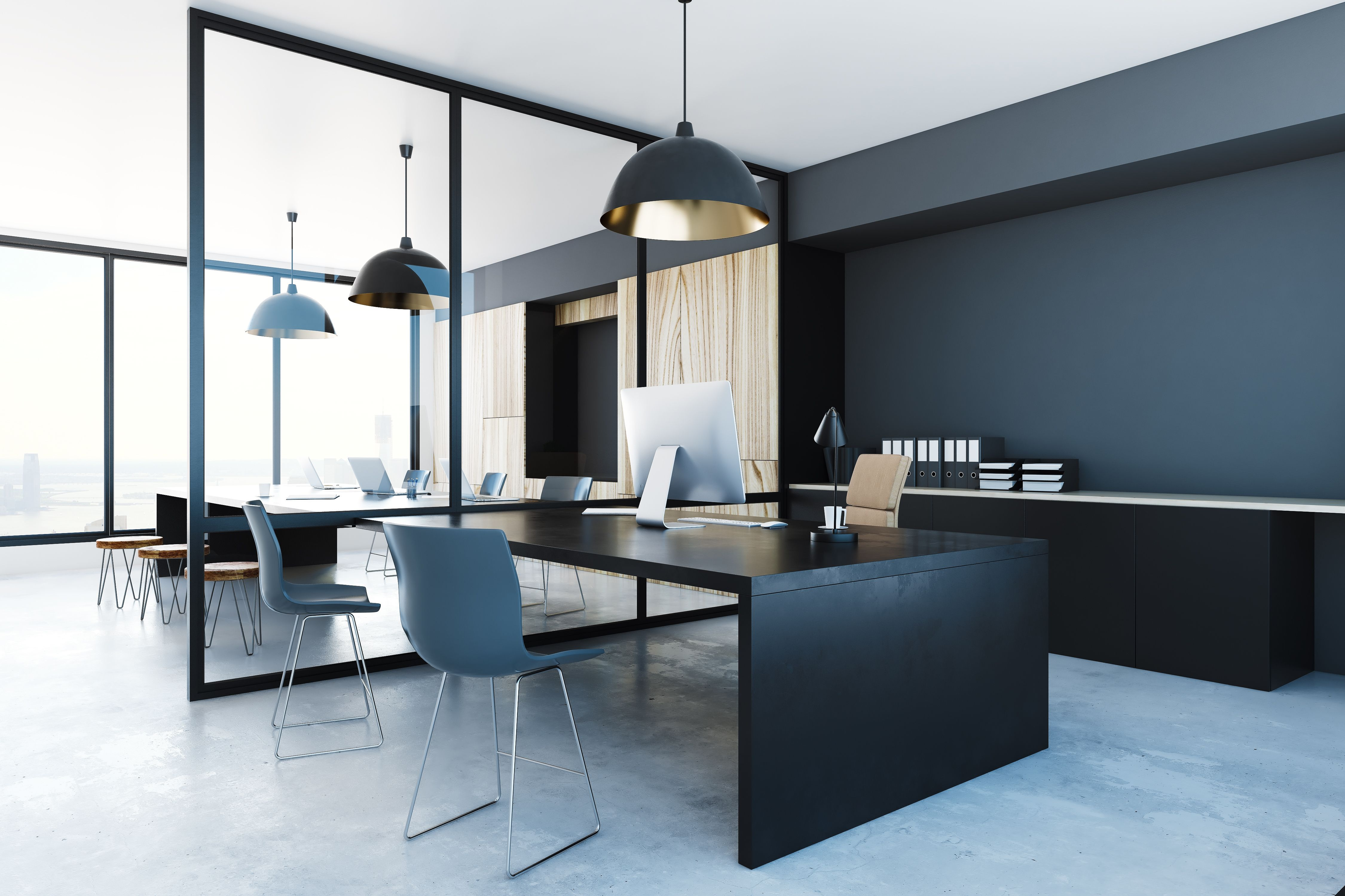 A Modern Divide With A Glass And Steel Wall Partition Office Interiors Interior Glass Room Divider