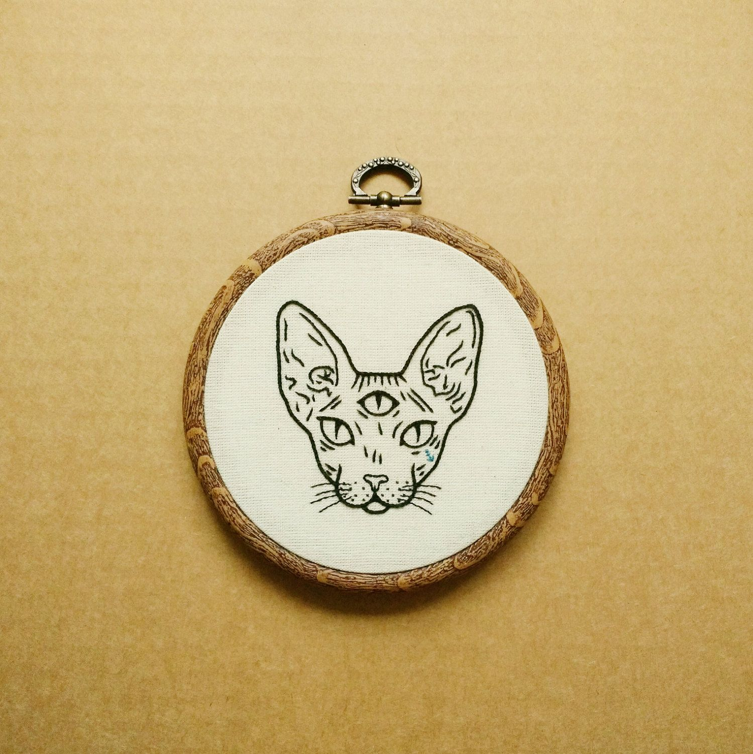 Three Eyed Sphynx Cat Hand Embroidery Hoop Art (embroidery wall ...