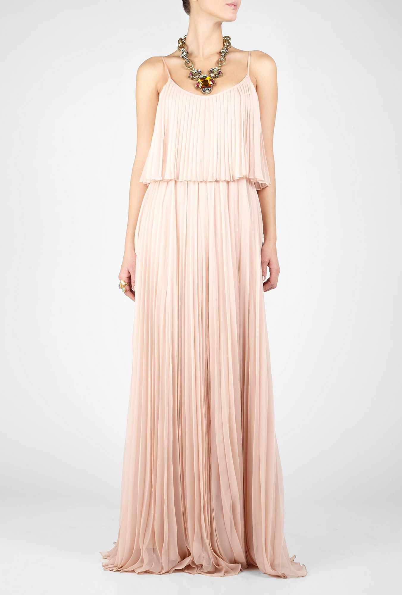 Halston pale pink pleated maxi dress bridesmaids pinterest