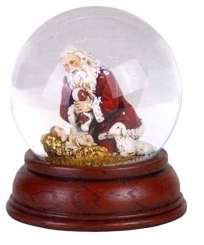 6999 7999 pack of 2 lighted kneeling santa claus with baby jesus christmas water globes - Santa Claus And Jesus 2