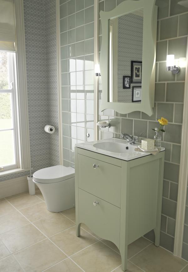 Ferndale Sage Green 600 Unit And Ceramic Basin Top Green Bathroom Trendy Bathroom Tiles Edwardian Bathroom