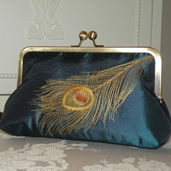 Peacock Feather Embroidered Silk Clutch/Purse  Teal  by Paulownias, $65.00