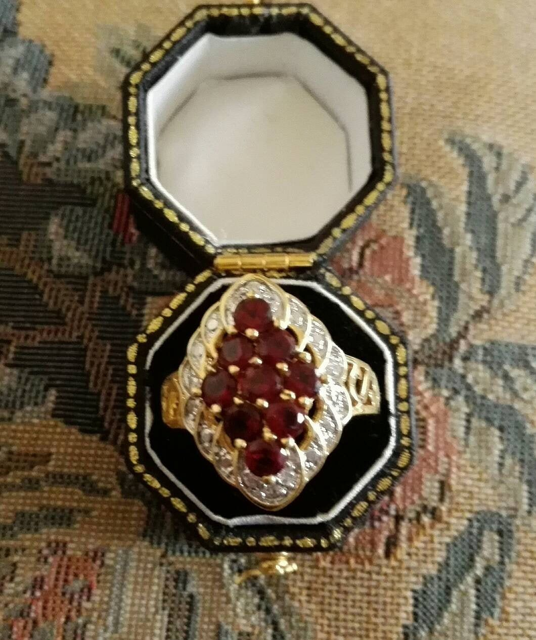 Ruby Crystal Statement Ring Stunning Vintage Heavily Gold