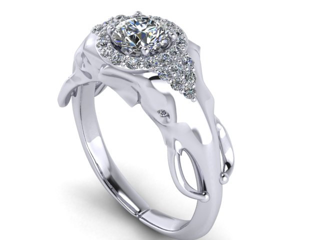 Elephant Engagement Ring with Half carat Diamond center and halo