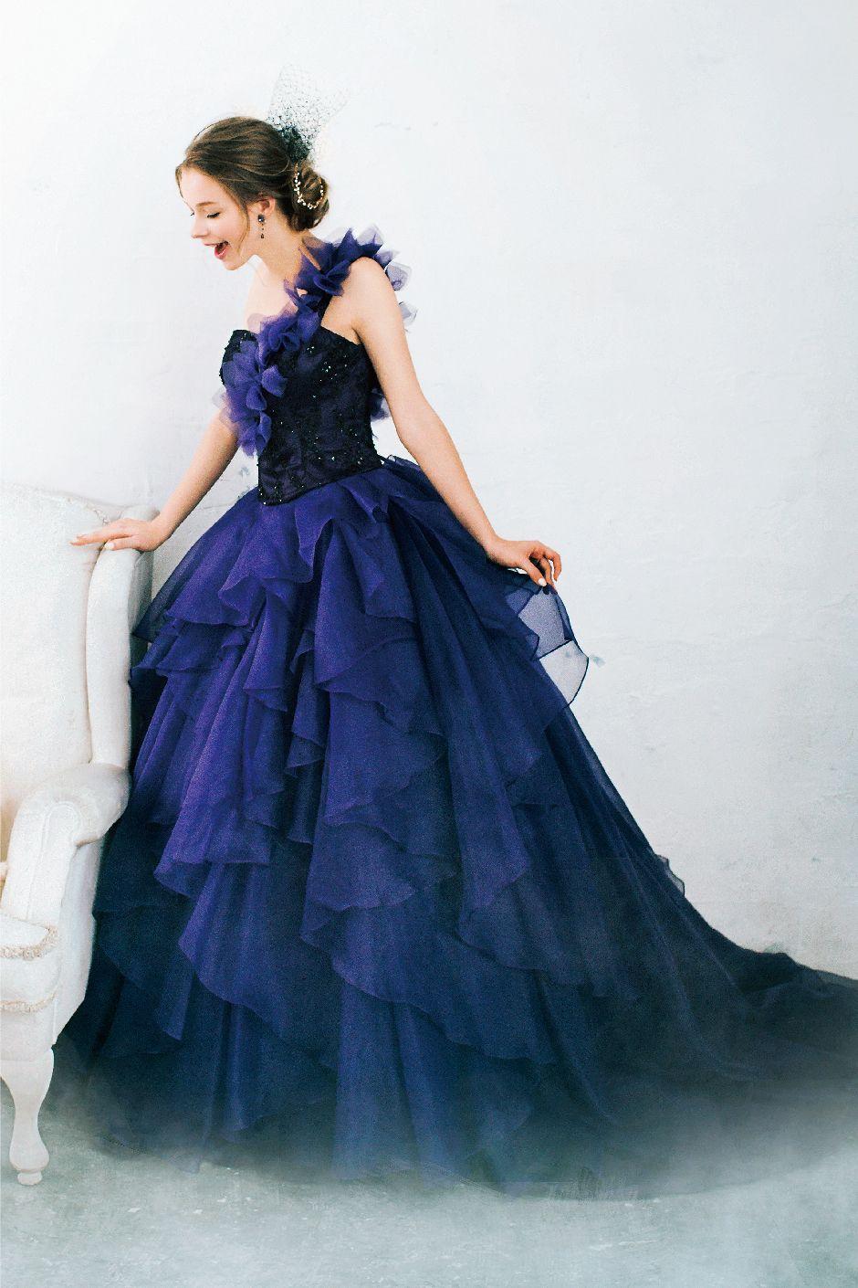Purple black カラードレス ネイビー pinterest ball gowns gowns