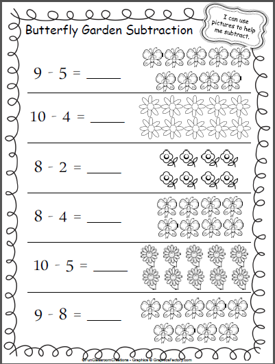Butterfly Garden Subtraction Worksheet Madebyteachers Kindergarten Subtraction Worksheets Subtraction Kindergarten Subtraction Worksheets