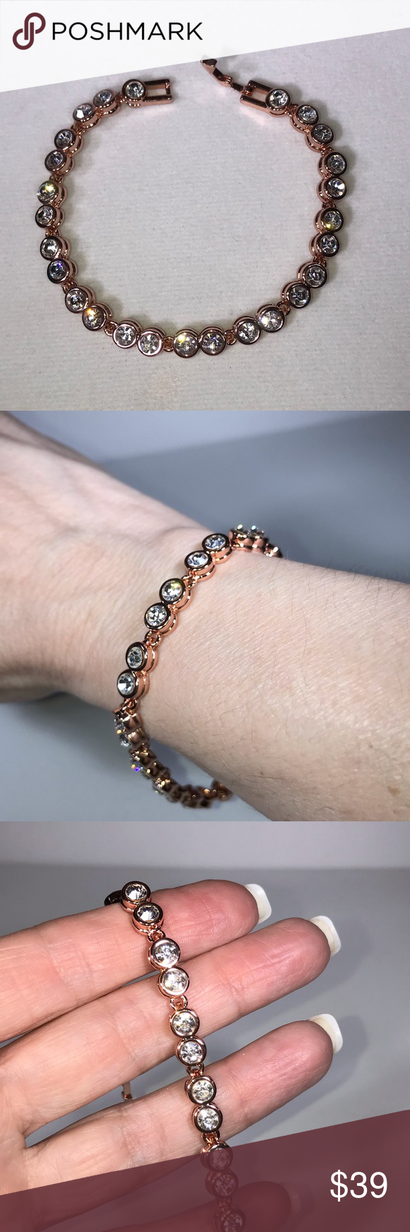 Rose Gold Plated Swarovski Crystal Tennis Bracelet In 2020 Swarovski Crystals Womens Jewelry Bracelets Boutique Jewelry