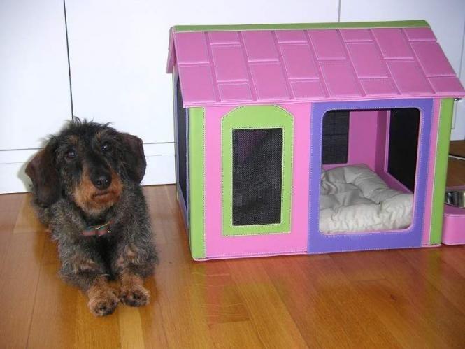 hundeh tte h hle f r drinnen pink bunt kunstleder hundewelt. Black Bedroom Furniture Sets. Home Design Ideas