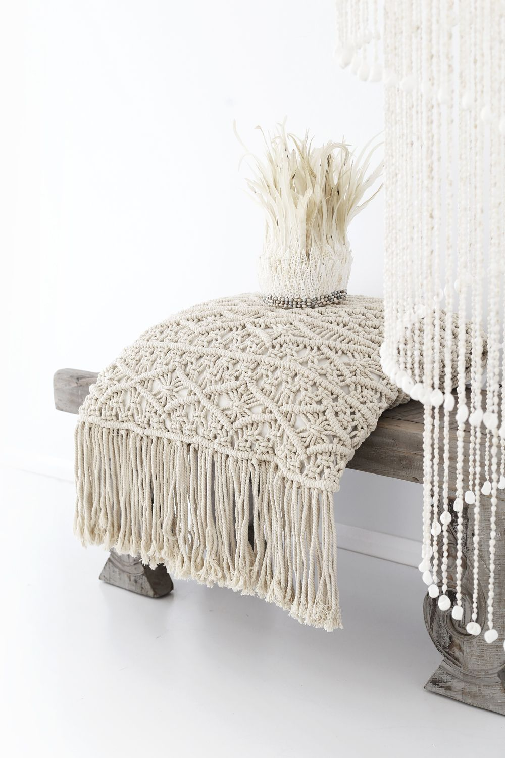 ... iIndrani macrame cushion & lalita feather crown | losari: http://www.losari.com.au/collections/throws ...