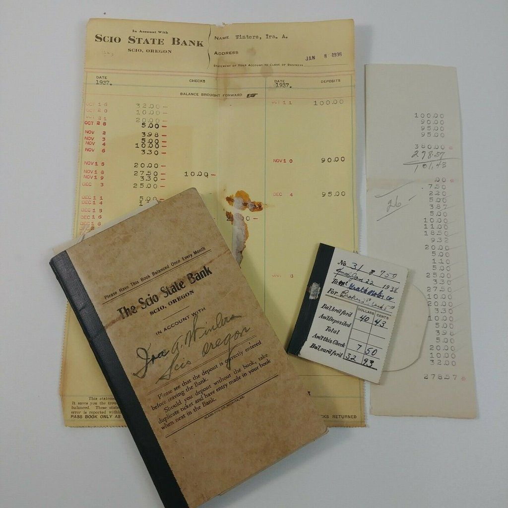 Scio State Bank Scio Oregon Checkbook Bank Statement And Receipt 1937 1938 Checkbook Preowned Statement