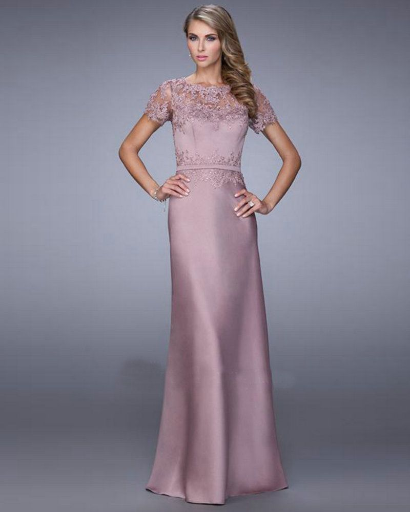 21701 Cocoa Mauve Satin Lae Mermaid Evening Gown A line Elegant Long ...