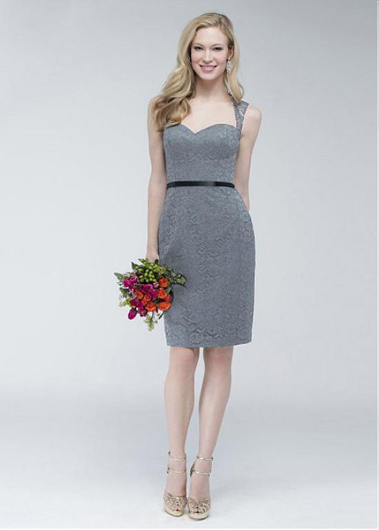 Knee Length Sheath Bridesmaid Dress
