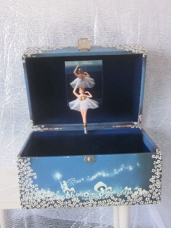 Vintage Childs Musical Jewellery Box Ballet Theme Plays Swan