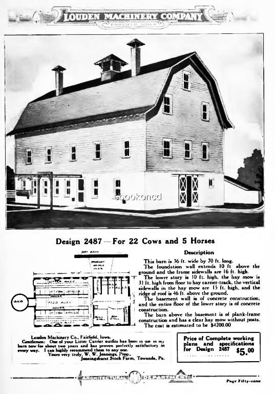 Vintage Gambrel Roof Barn Floor Plan From The Louden Machinery Company Floor Plans Barn House Gambrel Roof