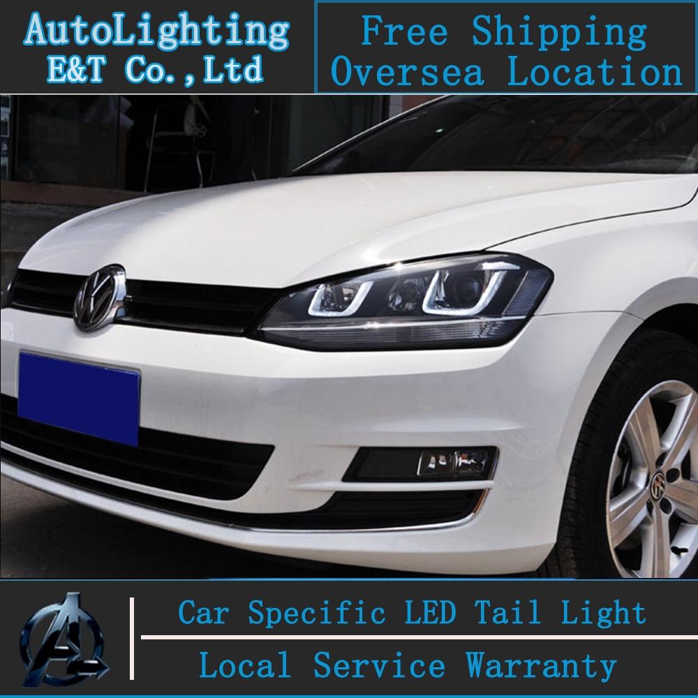 485.46$  Buy here - http://alisbu.worldwells.pw/go.php?t=32473922854 - Car Styling VW Golf 7 headlights 2013-2014 Golf7 led headlight GIT head lamp Angel eye led drl H7 hid R20 Bi-Xenon Lens low beam 485.46$