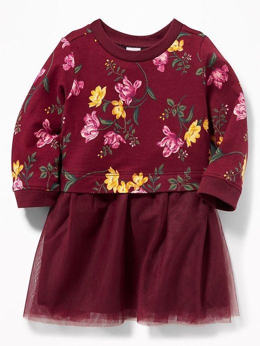 5368f2300 Old Navy Babies' Sweatshirt Tutu Dress Burgundy Floral Size 3-6 M ...