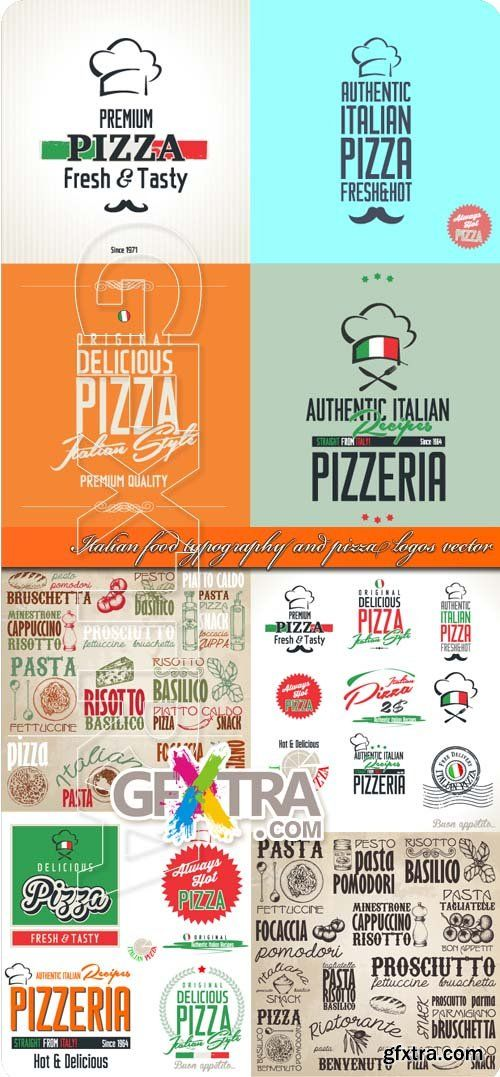 Italian food typography and pizza logos vector
