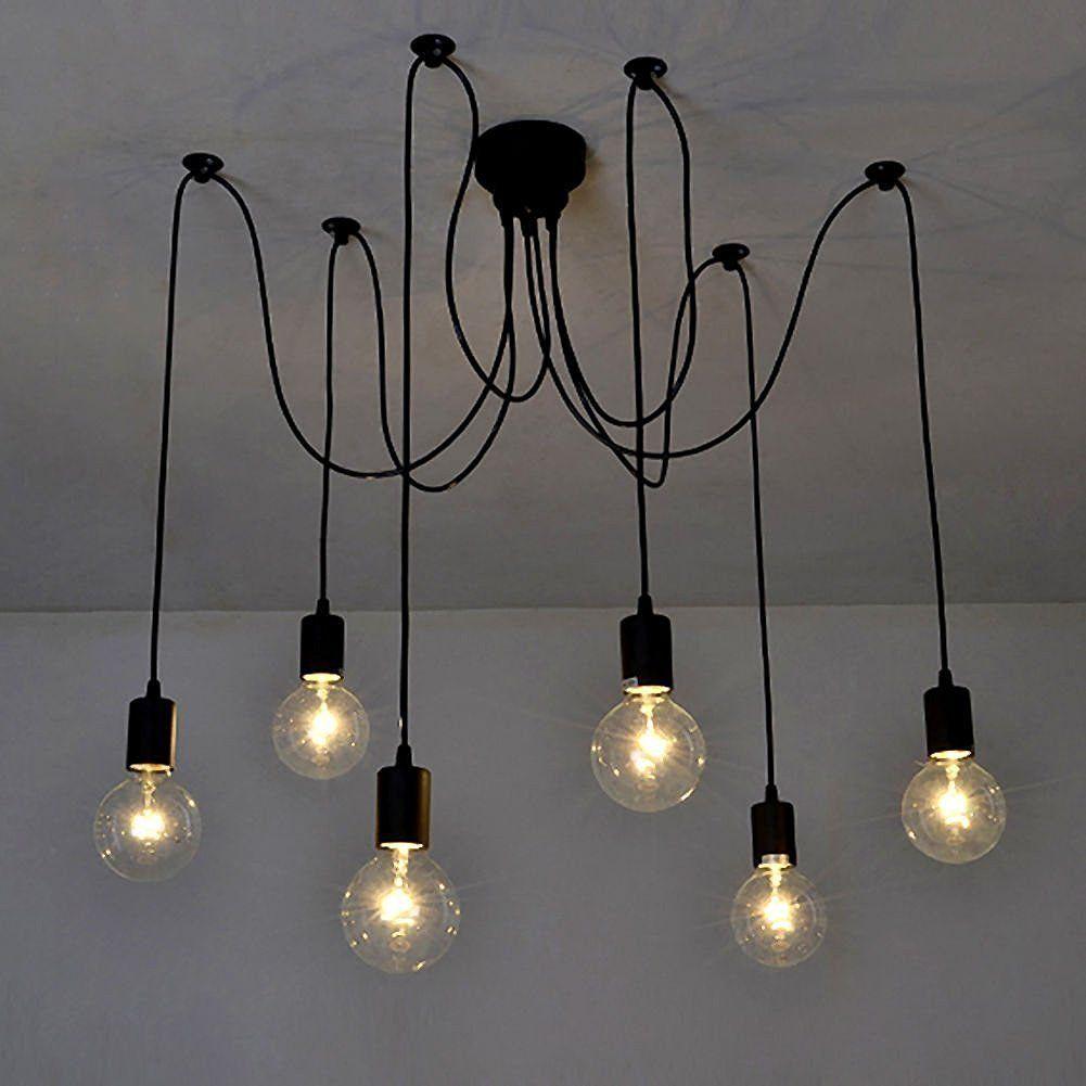 Signstek E27 Diy Retro Industrie Stil Höhenverstellbar Kronleuchter Pendelleuchten Hängelampe 6 Flammig Amazon Retro Deckenleuchten Industrie Leuchten Lampe