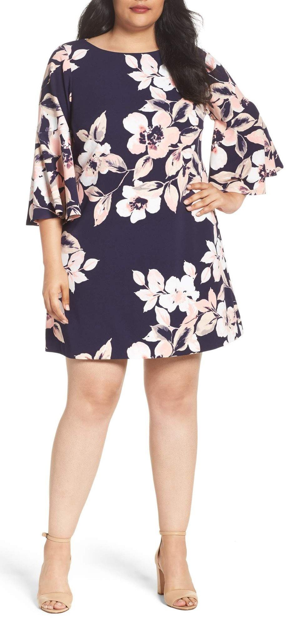 39 Plus Size Spring Wedding Guest Dresses With Sleeves Alexa Webb Bell Sleeve Shift Dress Plus Size Wedding Guest Dresses Curvy Dress