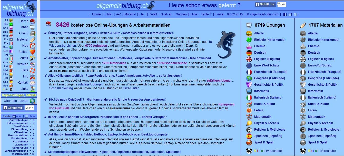 http://www.allgemeinbildung.ch/home.htm: kostenlose online Übungen ...