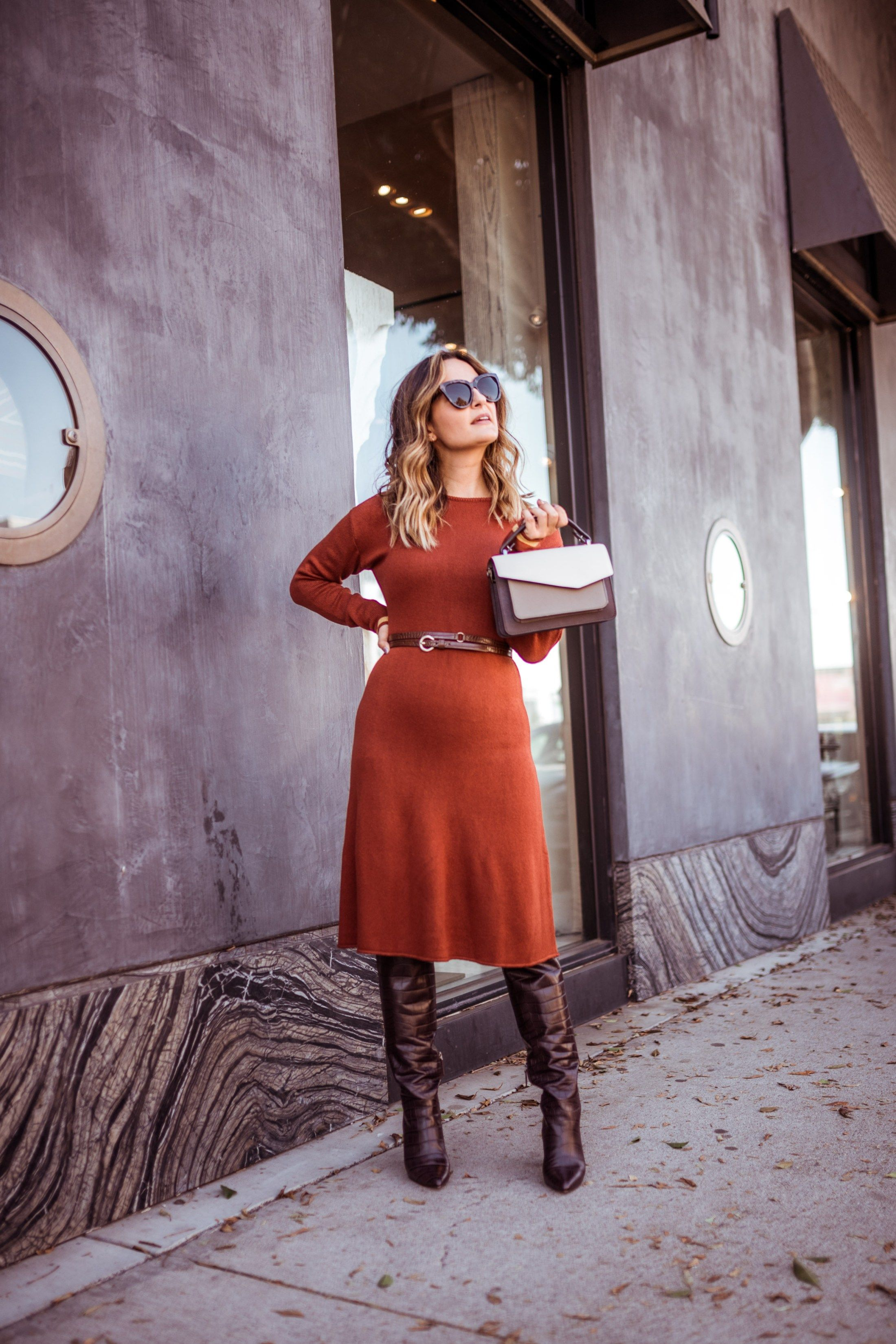 Roundup 20 Midi Sweater Dresses For Fall Charmed By Camille Sweater Dress Midi Dresses With Boots Fall Fall Dress Outfit [ 3299 x 2200 Pixel ]