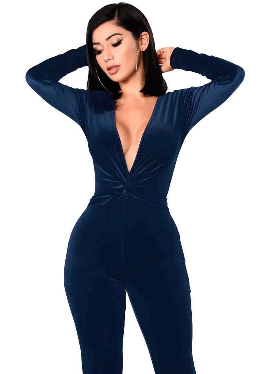 bdf58dc1d57 Long Sleeve Ruched Deep V Neck Velvet Jumpsuit Jumpsuit   Rompers Women  Clothes Sexy Lingeire