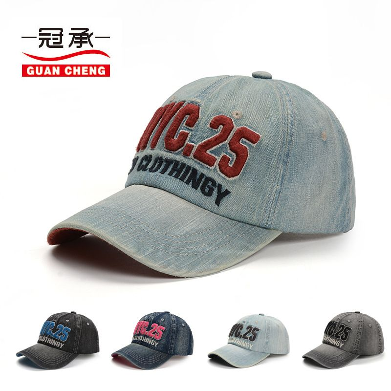 fc92b7523e8 2018 new Simple pure cotton letter nyc embroidered baseball cap men and  women wash old denim cotton cloth vintage pure duck cap