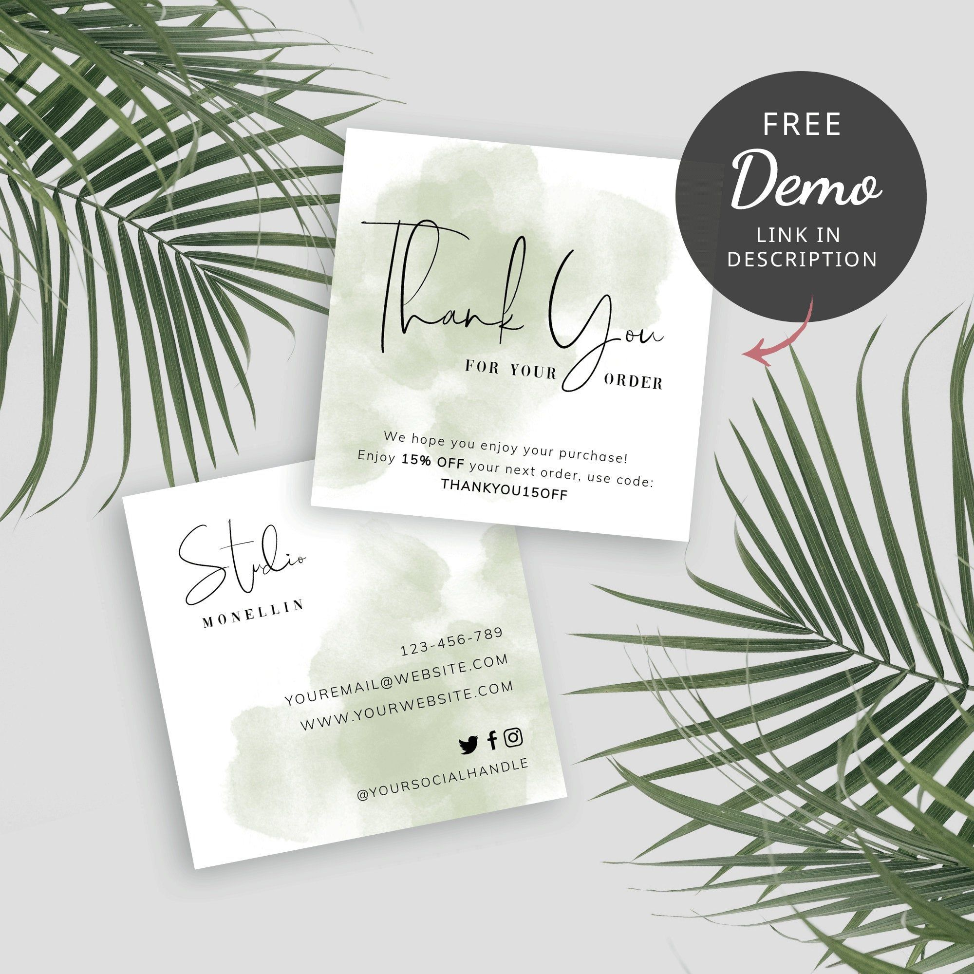 Mini Thank You For Order Card Template Diy Thank You For Purchase Cards Parcel Inserts Thank You Card Design Business Thank You Cards Business Cards Minimal