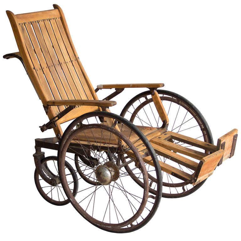 View This Item And Discover Similar Chairs For Sale At   Wonderful Antique  Wooden Wheelchair With Early Metal Spoke Wheels.