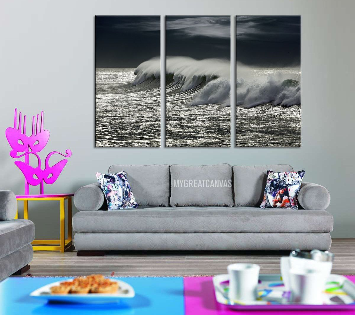 large wall art giclee 3 panel canvas print black and white ocean