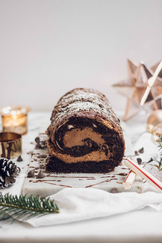 Flourless French Chocolate Buche De Noel (Yule Log