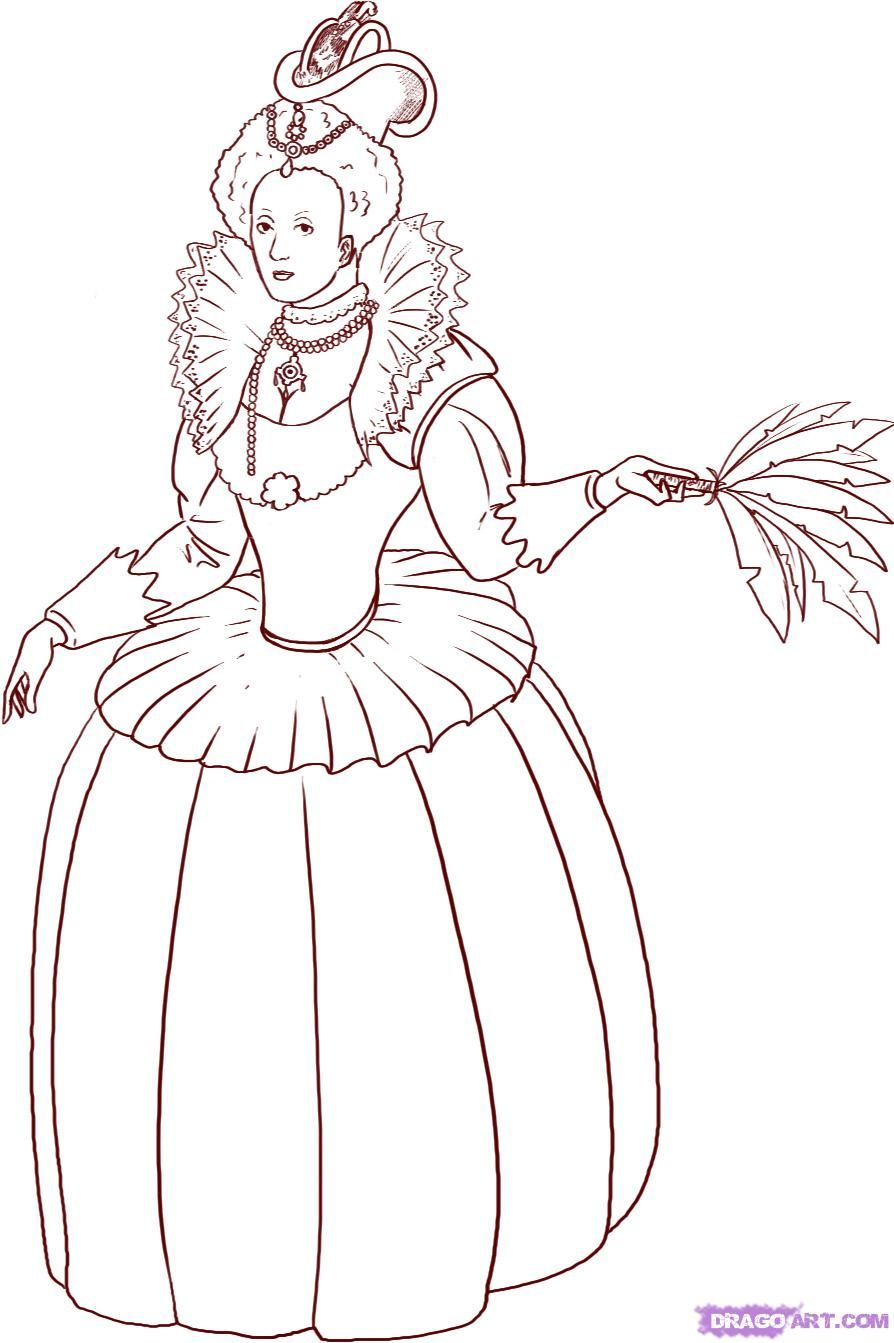 Coloring pages queen elizabeth - How To Draw A Queen Step 6_1_000000008373_5 Jpg