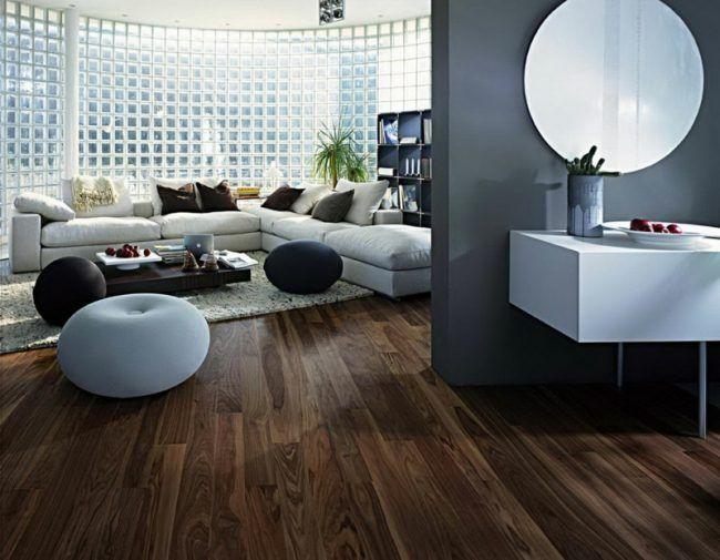 parkett und dielenböden dunkel holz modern wohnzimmer grau wand flur ...