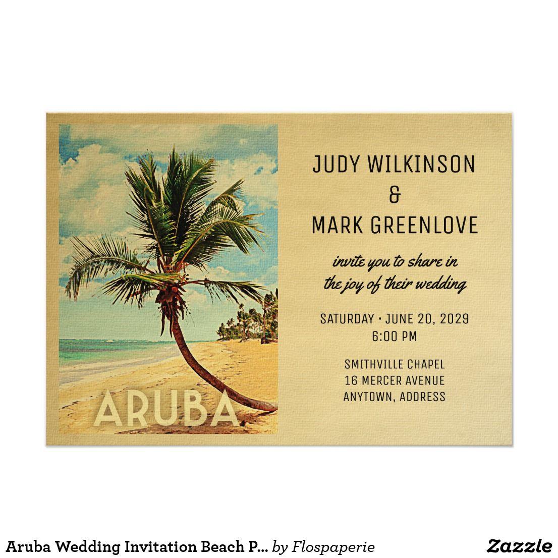 Aruba Wedding Invitation Beach Palm Tree | Beach Wedding Invitations ...