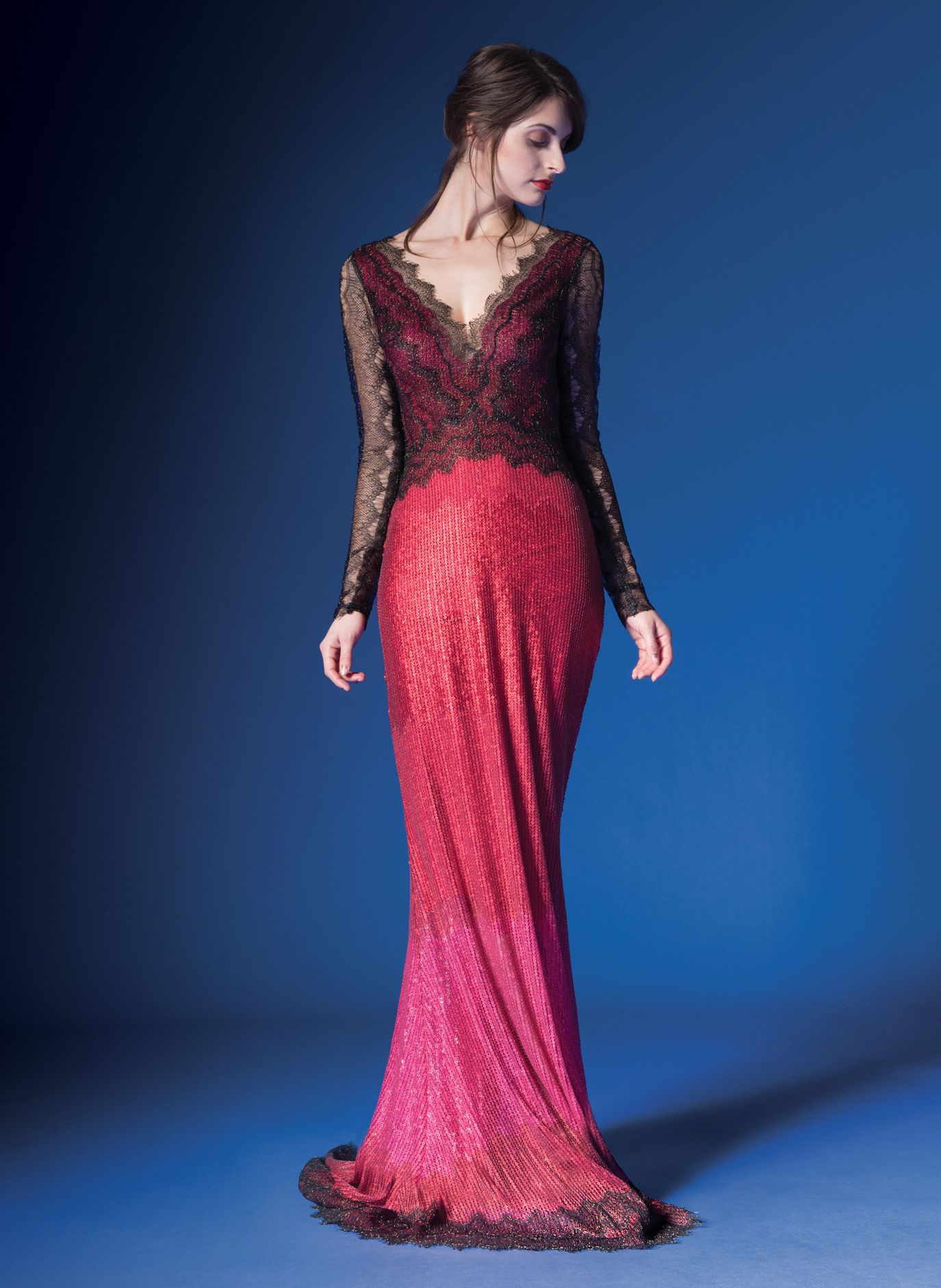 Metallic chantilly lace over sequin and lace vneck long sleeve gown