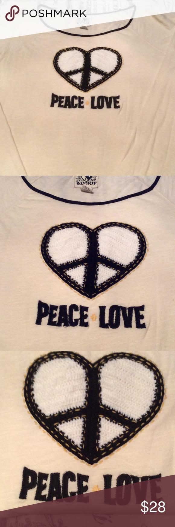Lucky Brand long sleeve shirt. NWOT!! Never worn come colored lucky brand long sleeve shirt with heart on chest. Lucky Brand Tops Tees - Long Sleeve