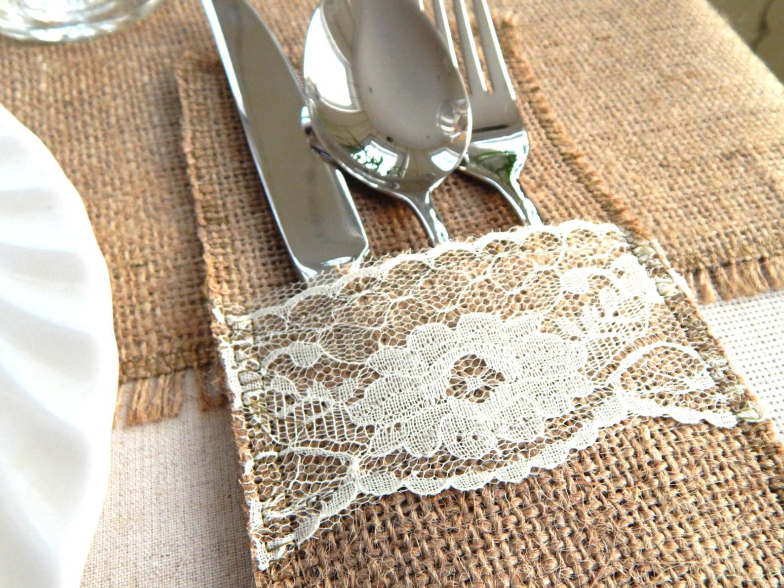 Rustic Burlap Cutlery Holders Rustic Wedding Table Cutlery