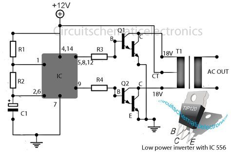simple inverter circuit with ic556 timer chip electronica