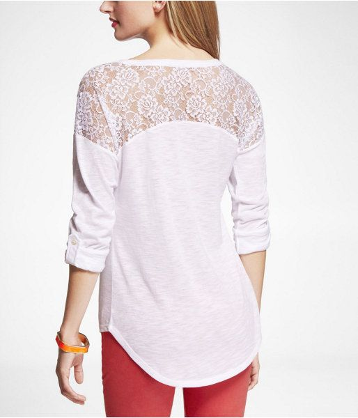 Express Womens Rolled Sleeve Lace Inset Tee True White, Small