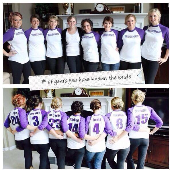 Bridesmaid T-shirts. How many years each girl has known the bride.