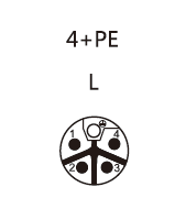 M12 L-coding Connector male 4pin + PE contact layout