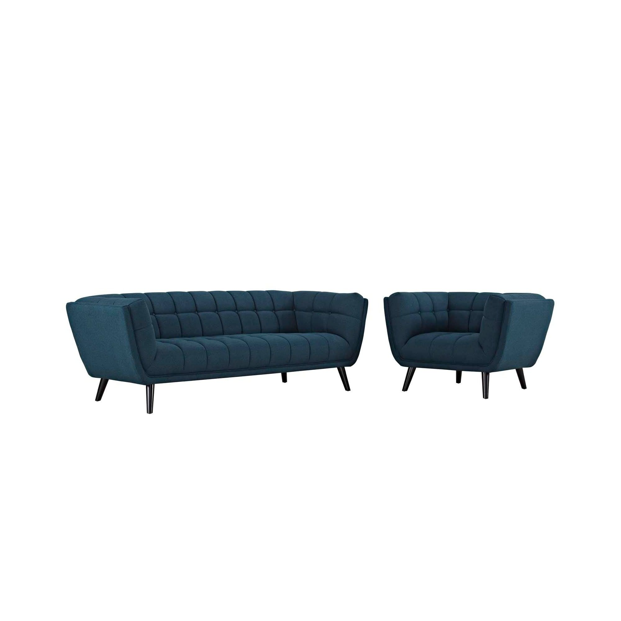 Best 2Pc Bestow Upholstered Fabric Sofa And Armchair Set Blue 400 x 300
