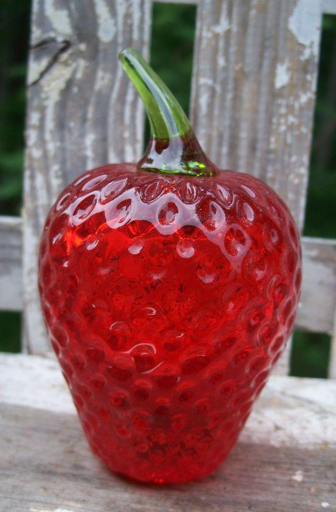 Vintage Viking Red Strawberry Amp Green Stem Art Glass