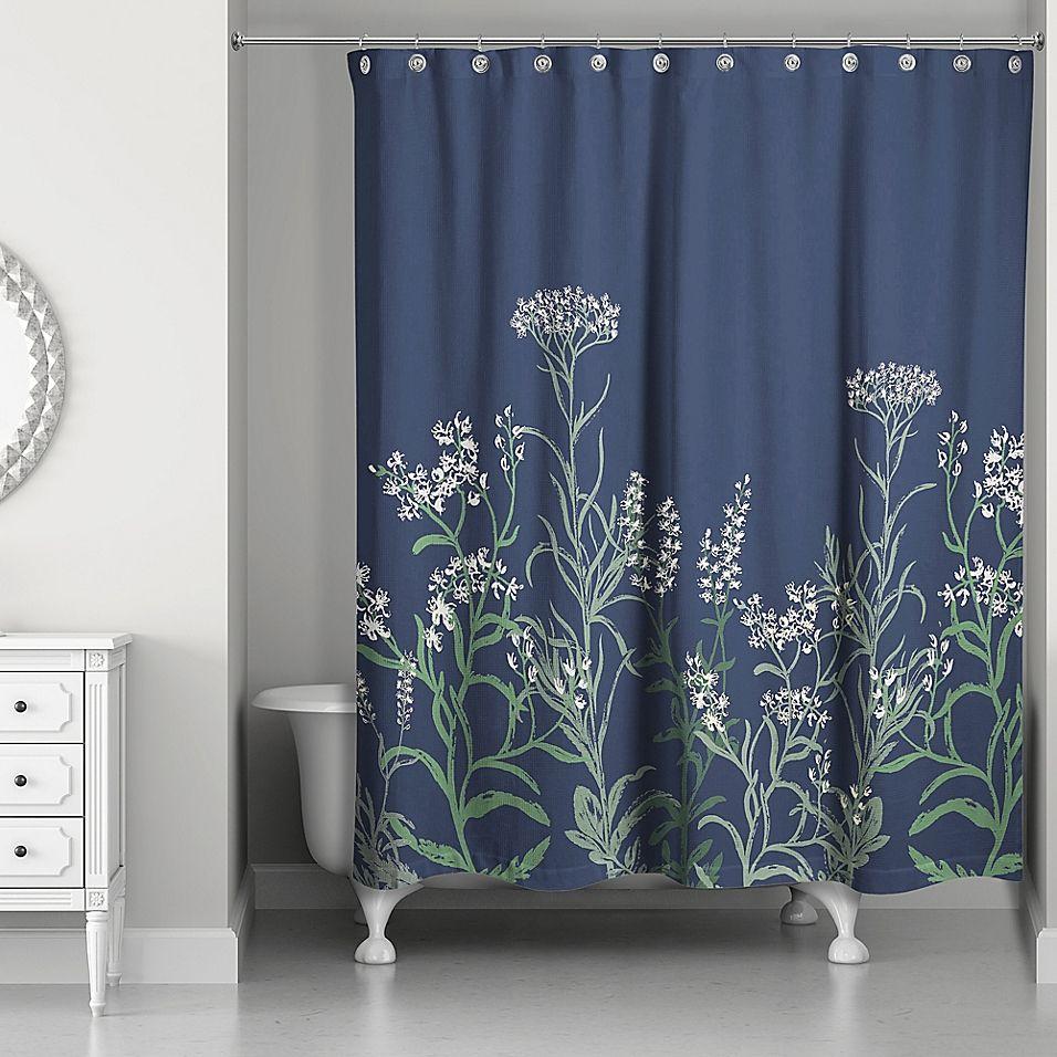 Designs Direct Flowy Vines Shower Curtain In Blue Designer