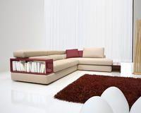 Libreria Divano ~ Divano angolare in tessuto con poggiatesta reclinabili e libreria