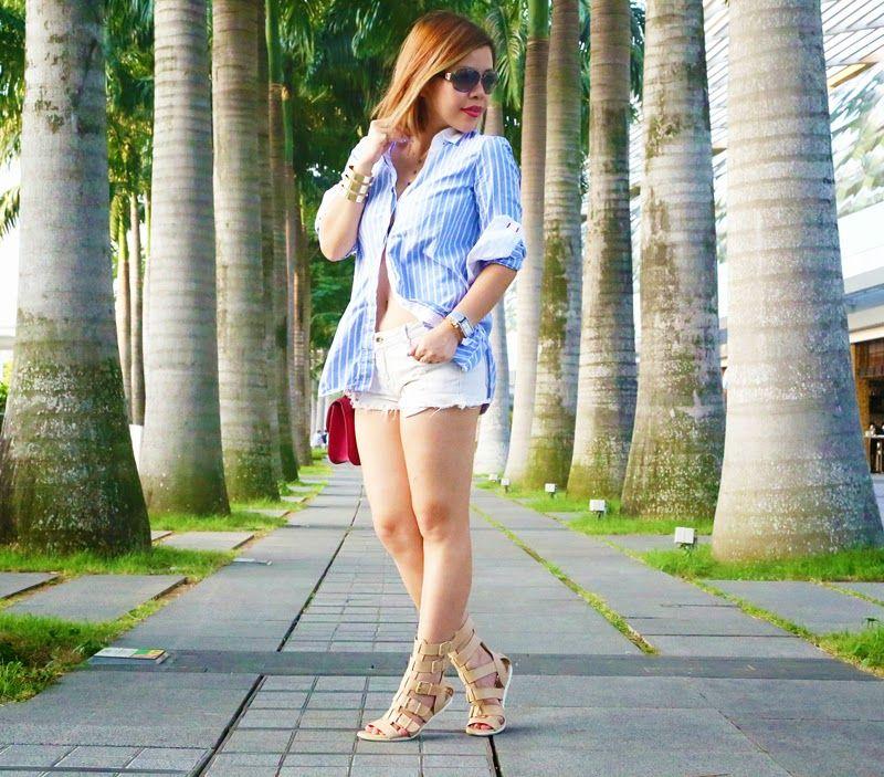 54ac87bc2b3f Casual outfit  weekend  denim  Gladiator  boyfriendshirt iheartCrystal  Phuong- Singapore Fashion