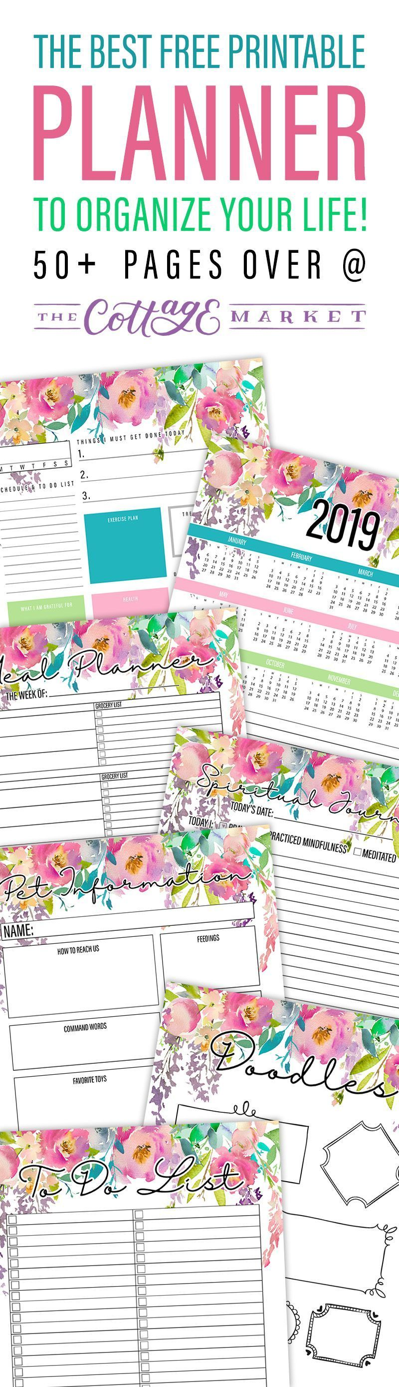 The Best 2019 Free Printable Planner to Organize Your Life! /// 50+ Pages #50freeprintables The Best 2019 Free Printable Planner to Organize Your Life! /// 50+ Pages - The Cottage Market #50freeprintables The Best 2019 Free Printable Planner to Organize Your Life! /// 50+ Pages #50freeprintables The Best 2019 Free Printable Planner to Organize Your Life! /// 50+ Pages - The Cottage Market #50freeprintables
