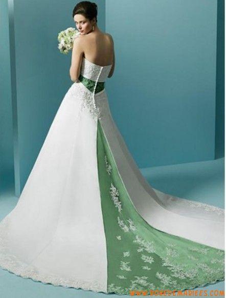 Robe de mariée princesse en vert/blanc | Weddings and All ...