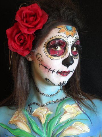 pregnant belly body painting contest west coast face painters - Halloween Skull Painted Face